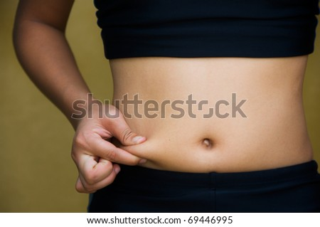 Asian girl's Fingers Touching her body parts - stock photo