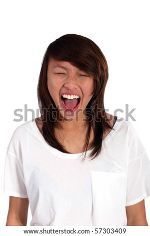 asian girl screaming out loud - stock photo
