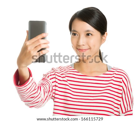 Asian girl selfie - stock photo