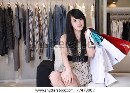 asian girl shopping - stock photo