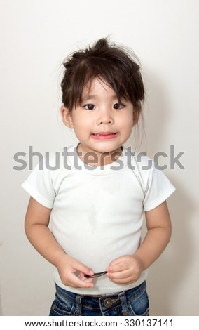 asian girl smile funny action - stock photo