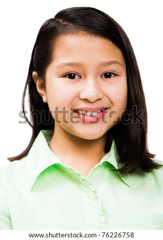Asian girl smiling isolated over white - stock photo