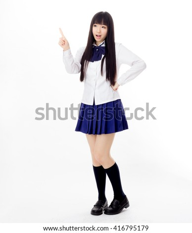 asian girl student in school uniform - stock photo