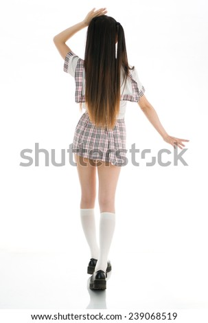 asian girl student in school uniform back - stock photo
