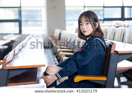 asian girl student in school uniform japanese style