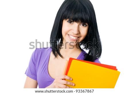 Asian girl student smiling looking at camera - stock photo