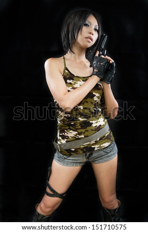 Asian girl wearing camouflage army clothing - stock photo