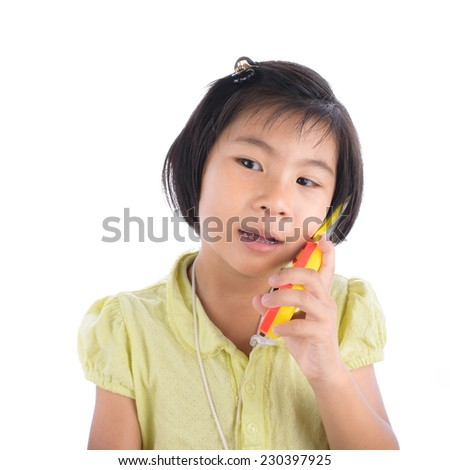 Asian girl with mobile phone, Isolated on white