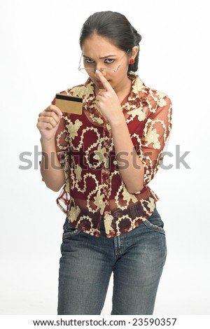 Asian girl with modern costume having credit-card - stock photo