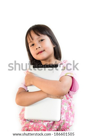 Asian girl with tablet - stock photo