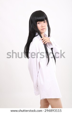 Asian girl with white shirt isolated in white background