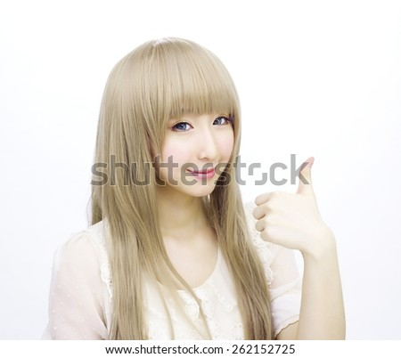 asian girl woman golden hair fashion japanese style - stock photo