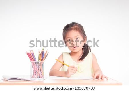 asian girl writing  - stock photo