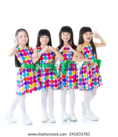 Asian girls looking at camera - stock photo