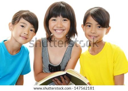 Asian girls studying - stock photo