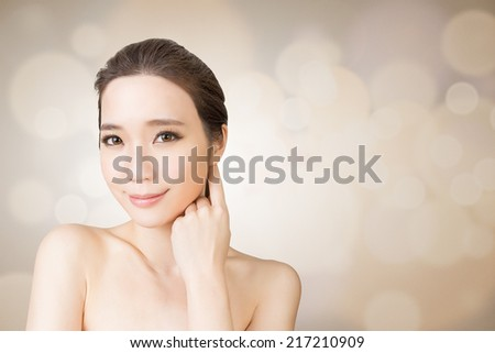 Asian glamour of beauty face, closeup portrait.