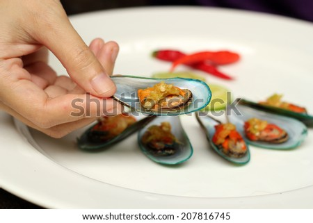 Asian green mussels Spicy Food - stock photo