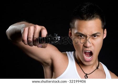 Asian Gun Man - stock photo