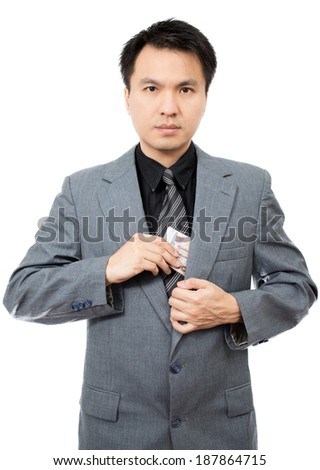 Asian handsome businessman show banknotes, isolated - stock photo