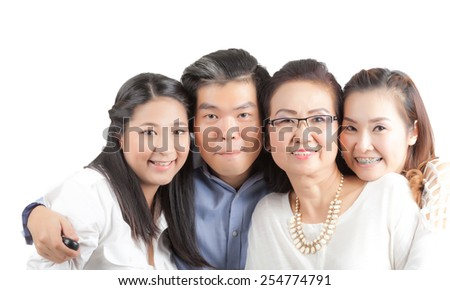 Asian happy family isolated on white background - stock photo