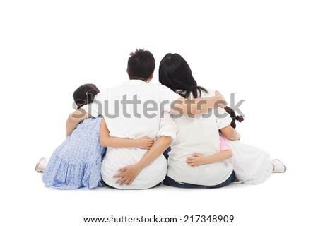 asian happy family sitting on floor . isolated on white background - stock photo