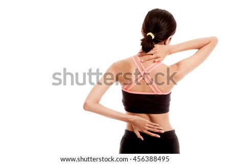 Asian healthy girl got neck pain and back pain  isolated on white background