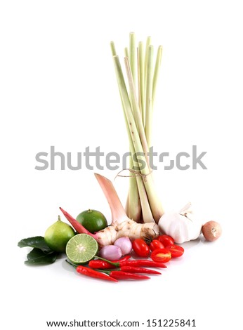 """Asian herb and spicy """"Tom Yum"""" ingredients food - stock photo"""