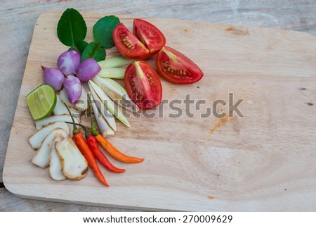 Asian herb ingredients spicy Tom Yum food - stock photo