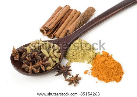 Asian herbs and spices isolated white background - stock photo