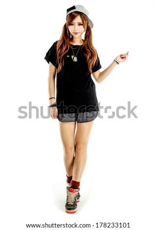 asian Hip hop girl model  isolated - stock photo