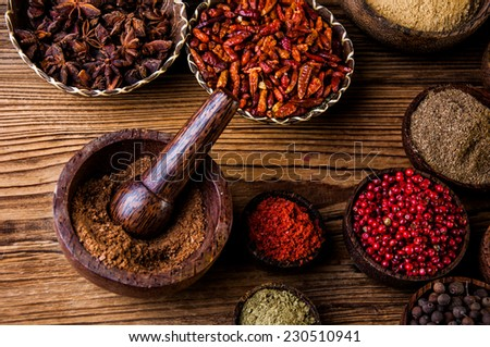 Asian hot theme with spices - stock photo