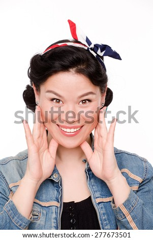 Asian housewife smile - she happy and healthy - stock photo