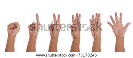 Asian Human Hand Differrent figures isolated white background