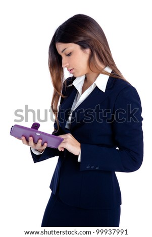 asian indian business woman reading ebook tablet pc notebook and blue suit on white - stock photo