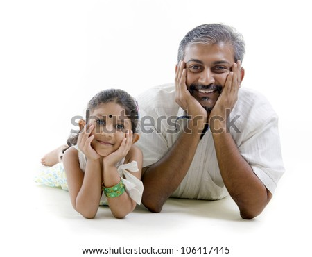 asian indian; father and daughter - stock photo