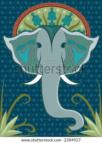 Asian-inspired elephant head adorned with beaded patterns and a vibrant halo - stock photo