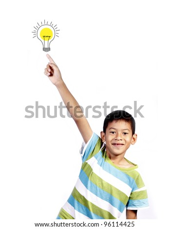 asian kid playing pointing idea on white background - stock photo