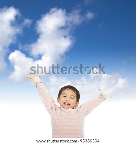 asian kid raising hands with sky background
