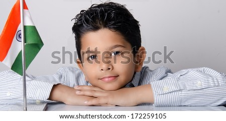 Asian kid with indian flag - stock photo