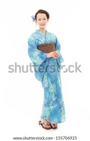 Asian kimono woman with white background - stock photo