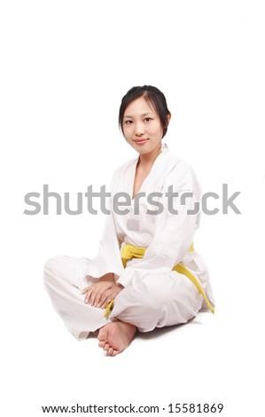 Asian kungfu woman, isolated on white - stock photo