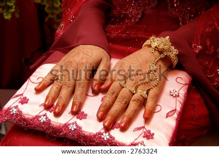 asian lady hands with hannah - stock photo