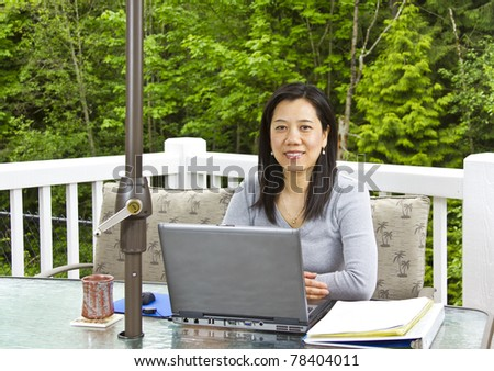Asian lady working outside of home
