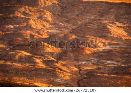 Asian landscape arid territory, stone desert at sunrise - stock photo