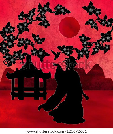 Asian landscape with a silhouette of a geisha and a pagoda with some blossom trees. - stock photo