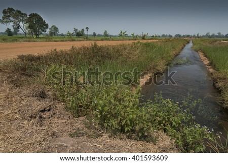 Asian landscapes showing irrigation channels and aqueducts used for water transportation in times of drought.