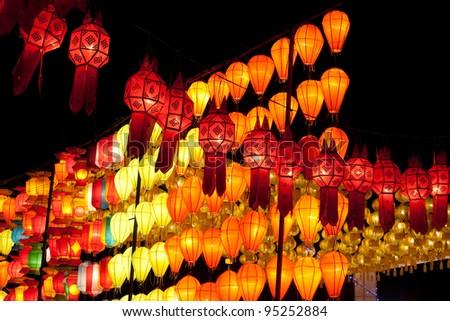 asian lantern in the nighttime - stock photo