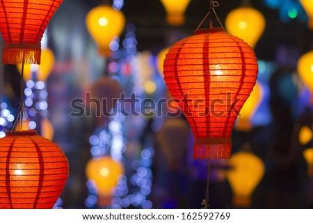 Asian lanterns in lantern festival - stock photo