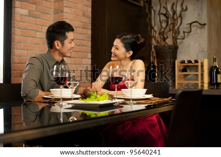 Asian Lifestyle Romantic Dinner - stock photo