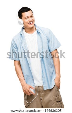 Asian listening to music student heaphones white background